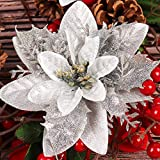 RECUTMS 10 Pcs Silver Christmas Glitter Artificial Poinsettia Flowers 6inch Christmas Wreath Christmas Tree Flowers Ornaments Holiday Seasonal Decorations (Double Silver)