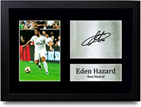 HWC Trading Eden Hazard - Foto firmada (tamaño A4), diseño de Chelsea, (Framed) Real Madrid, A4