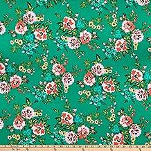 Cloud 9 Fabrics Cloud9 Organic Wildflower Cotton Sweet Rose Multi Fabric, Green