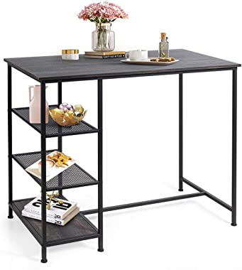 COSTWAY Counter Height Pub Table, Modern Bar Table with 3 Open Storage Shelves, Dining Table with Metal Frame for Small Space, Dining Room, Living Room, Breakfast Nook, Bar, Black