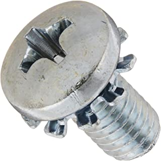 "Steel Machine Screw, Zinc Plated Finish, Pan Head, Phillips Drive, Meets ASME B18.13, External-Tooth Lock Washer, 1/4"" Len..."