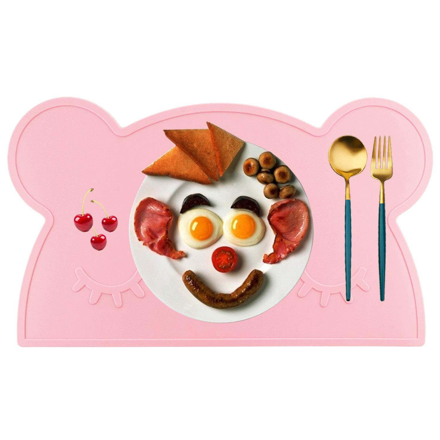 M MOACC Kids Placemat, Non-Slip Silicone Cute Placemats for Kids, Washable Dining Table Food Mat for Children Baby Toddler (Bear,Pink)