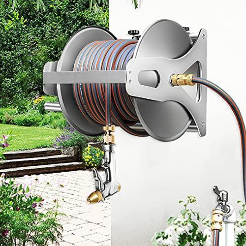 Carrete de manguera de jardín de pared, soporte de manguera de acero inoxidable, carrete de manguera de agua tiene un tubo de agua de 10-50 m, para manguera de jardín para jardín, jardín, granja y pat