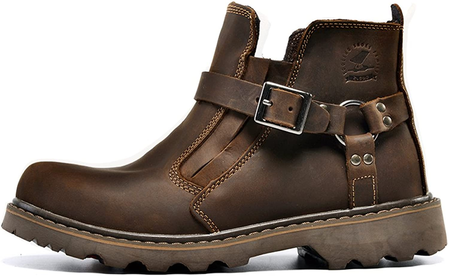 T-mod Comfortable Non Slip First Layer Genuine Leather Boots Stylish Casual Work shoes for Mens Brown