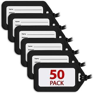 Luggage Tags (Black, 50 PK), Bag Tag for Baggage, Suitcase Tags Bulk
