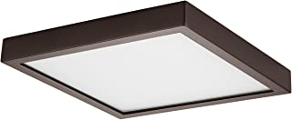 GetInLight Square 8-inch Dimmable Flush Mount Ceiling Fixture, 14 Watt, Bronze Finish, 3000K Soft White, 80W Replacement, Damp Location Rated, ETL Listed, IN-0313-2-BZ