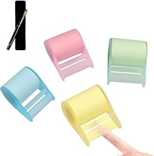 """Self Sticky Notes, Full Adhesive Roll Notes, Self-Determined Length Super Sticky Notes,Blue, Green, Yellow, Pink (1260"""" 4 Rolls) + Bonus Ballpoint Pen (More Than $12.99 Value) + Pen Cap"""