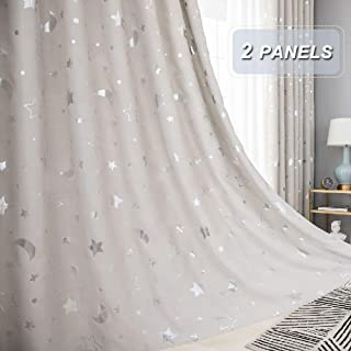 WUBODTI Beige Starry Blackout Window Treatments Curtains Set of 2 Panels Room Darkening Thermal Insulated Curtain Panels and Drapes for Kids Nursery Bedroom Living Room, Star and Moon, 39''W x 98''L