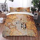 Qinniii Bedsure Funda Nórdica,Día de Colón y Mapa Mundial con brújula,Fundas Edredón 135 x 200 cmcon 1 Funda de Almohada 40x75cm