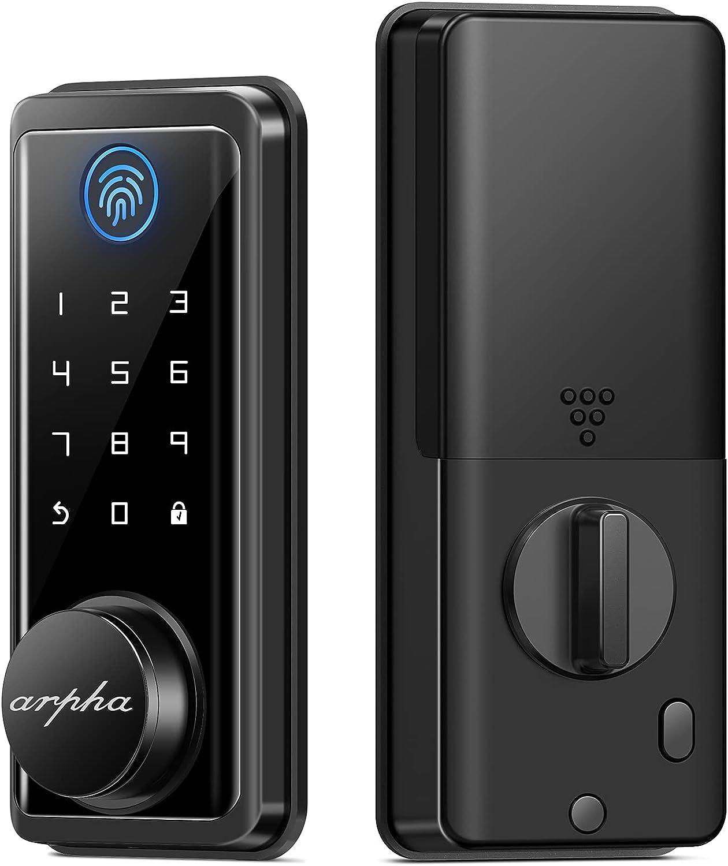 Smart Door Lock with Touchscreen Keypads, Arpha Fingerprint Smart Lock Front Door with Digital Electric Deadbolt, keyless Entry Door Lock, Bluetooth Smartphone Door Lock for Apartment, Hotel and Home