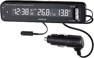 ナポレックス 車用 電波時計/電圧計/温度計 Fizz VTメータークロック ブラック カープラグ給電 (DC12V) 誤警報カット/電圧異常/路面凍結警報機能搭載 NAPOLEX Fizz-1025