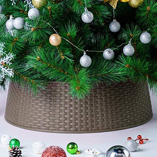 Blissun Christmas Tree Ring, Plastic Christmas Tree Collar, Christmas Tree Skirt for Artificial Christmas Trees Decoration (Brown)