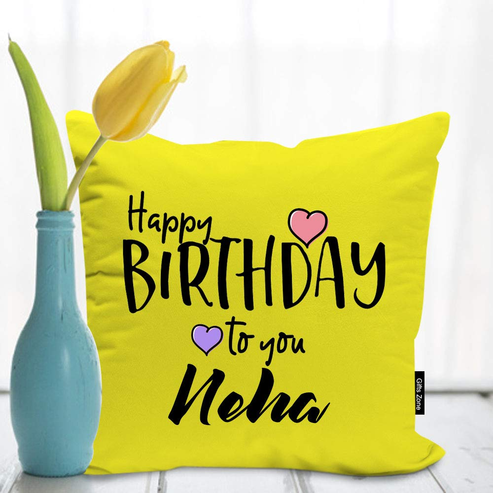 My Gifts Zone Satin Neha Name Printed Birthday Cushion with Filler Best Gifts for Birthday