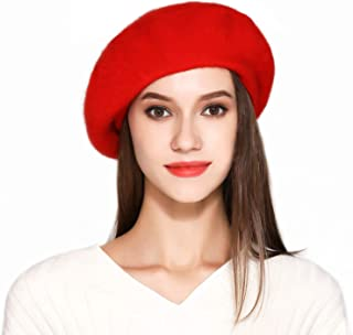 Jeicy Wool Beret Hat Solid Color French Artist Beret Skily Scarf Brooch