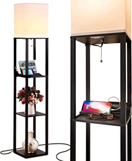 Brightech Maxwell Charging Edition - LED Shelf Floor Lamp for Living Rooms & Bedrooms - Includes