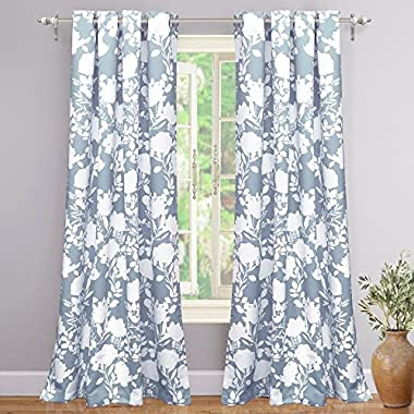 "DriftAway Floral Delight Botanic Pattern Room Darkening/Thermal Insulated Grommet Unlined Window Curtains, Set of Two Panels, each 52""x84"" (Blue)"