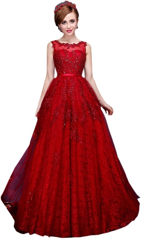 BessWedding 2016 Women's Long Jewel Lace Sleeveless Tulle Prom Evening Dresses