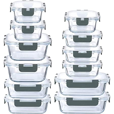 24-Piece Glass Food Storage Containers Set with Locking Lids Leak Proof Meal Prep Containers (Gray)