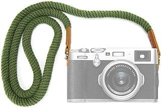 VKO カメラネックストラップ ソフトコットン カメラストラップ ショルダーストラッ 一眼レフ/ミラーレス/コンパクトカメラ用 FUJIFILMなど用 X-T30 X-T20 X-T3 X-T2 X70 X-Pro2 X-E3 X-E2 X30 XQ2 X100F X100S X100T A6400 A6000 A6300 A6500 A5100 RXIR II RX10 PEN-F E-M10 IIなど用 (緑色)