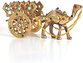 SAARTHI Rajasthani Traditional Handcrafted Gemstone Studded Miniature Movable Brass Camel Cart Showpiece for Home Decor, Standard, Brown, Golden