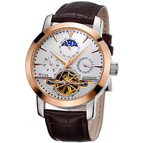 TSS Mens Automatic Tourbillon Moonphase Watch T8030 - Mechanical Stainless Steel Round Watch Synthetic Sapphire Pure