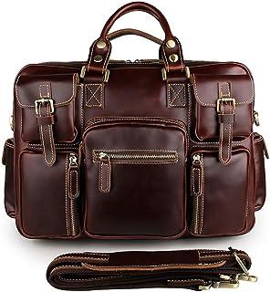 Men's Shoulder Bag Leather Men's Bag Vintage Crazy Horse Leather Tote Bag Men's Multi Pocket Tote Bag (Color : Brown-b)