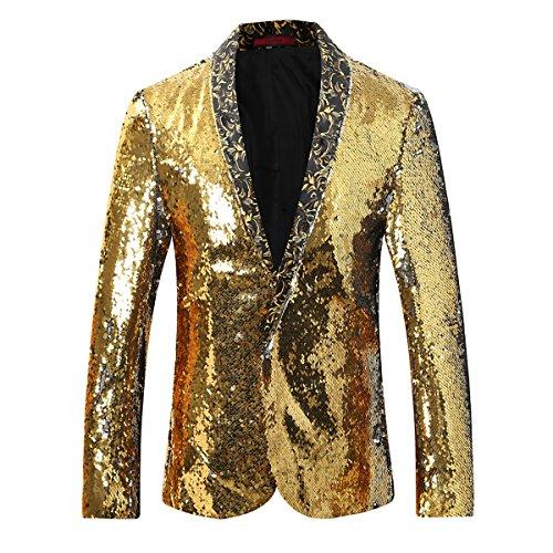 Cloudstyle Men's Sport Coat Slim Fit Notched Lapel Sequins Dance Party Blazer Jacket, Golden-silver, Medium