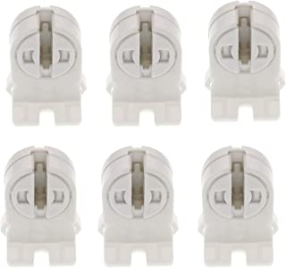 T5 LED Fluorescent Tube Lamp Holder Tombstone, TWDRTDD T5 Bi-Pin Socket, Fluorescent Lampholder for LED Fluorescent Tube Replacements Turn-Type Lampholder (Pack of 6)