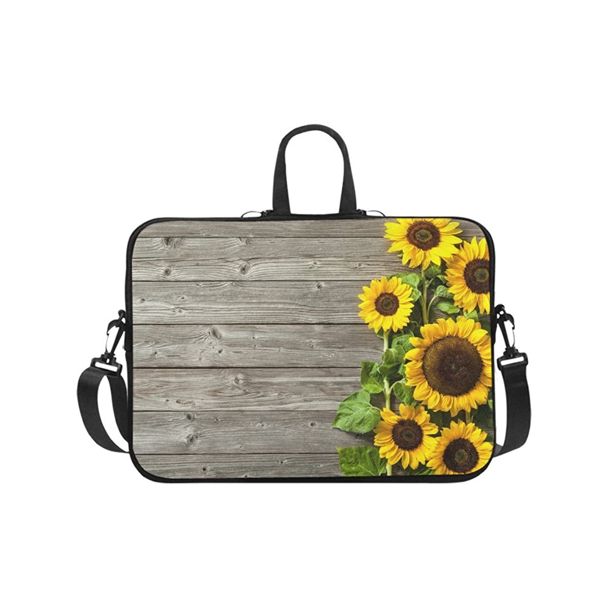 InterestPrint Autumn Sunflowers Wood Pattern Laptop Sleeve Shoulder Bag with Handle & Strap, Notebook Computer Carrying Bag 17 17.3 Inch for MacBook Dell HP Acer Woman Man