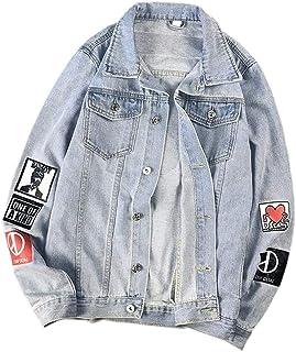 WSPLYSPJY Men Denim Jacket Print Slim Fit Button Down Jeans Coat