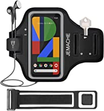 Pixel 4 XL, Pixel 3a XL, Pixel 3XL, Pixel 2XL Armband, JEMACHE Gym Running Exercises Workouts Arm Band Case for Google Pixel 4XL, 3a XL, 3XL, 2XL with Key Holder (Black)
