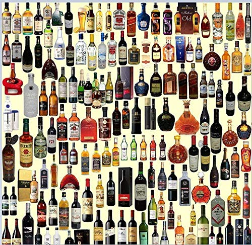 Wooden Jigsaw Puzzle 1000 Pieces,adults Wine Bottle Painting Children Puzzle Leisure Creative Games Toys Puzzles Unique Gift Stress Reliever