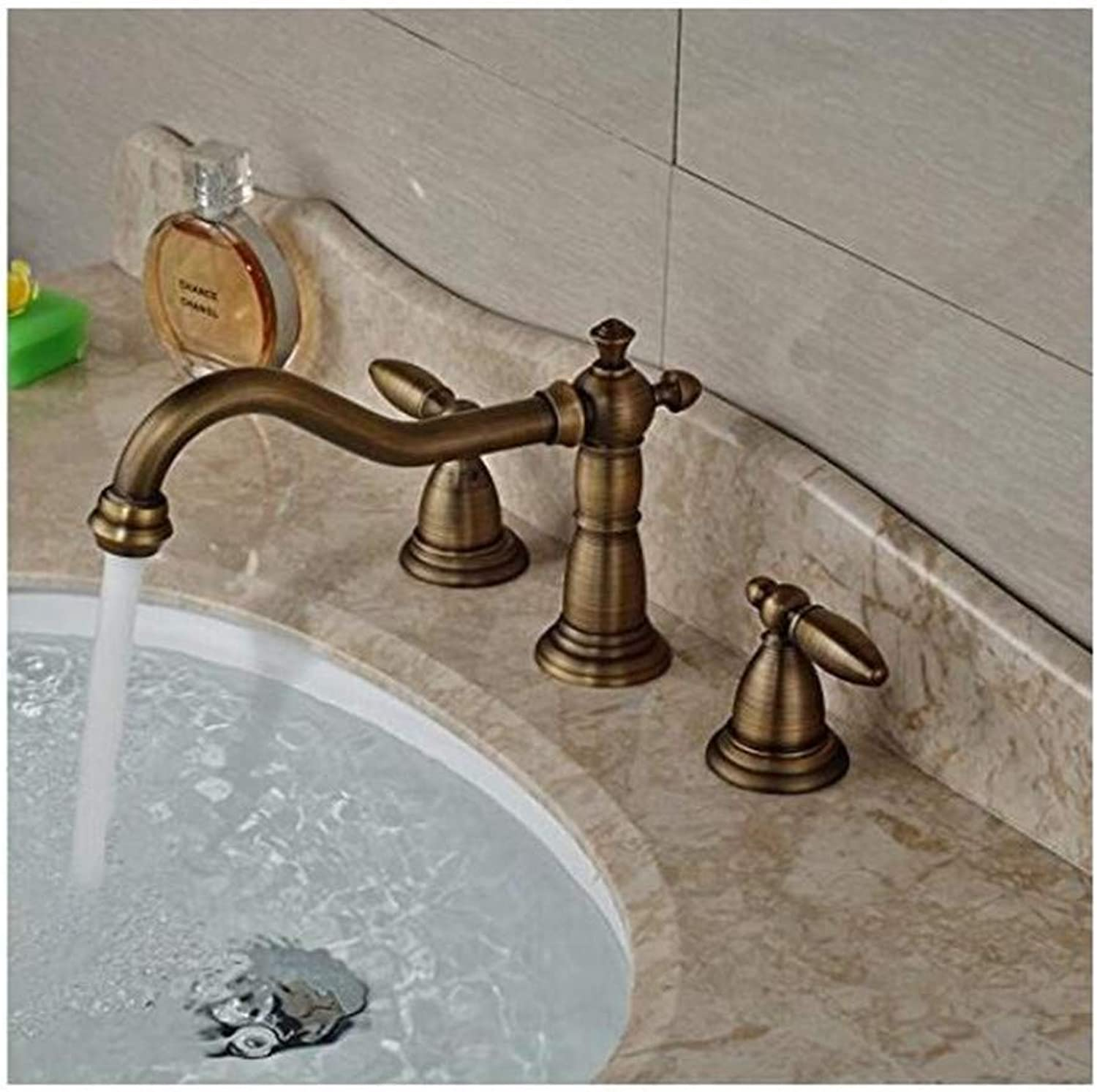 Faucet Vintage Plated Mixer Faucet Deck Mount Basin Sink Faucet Dual Handle Brass Antique Mixer Taps