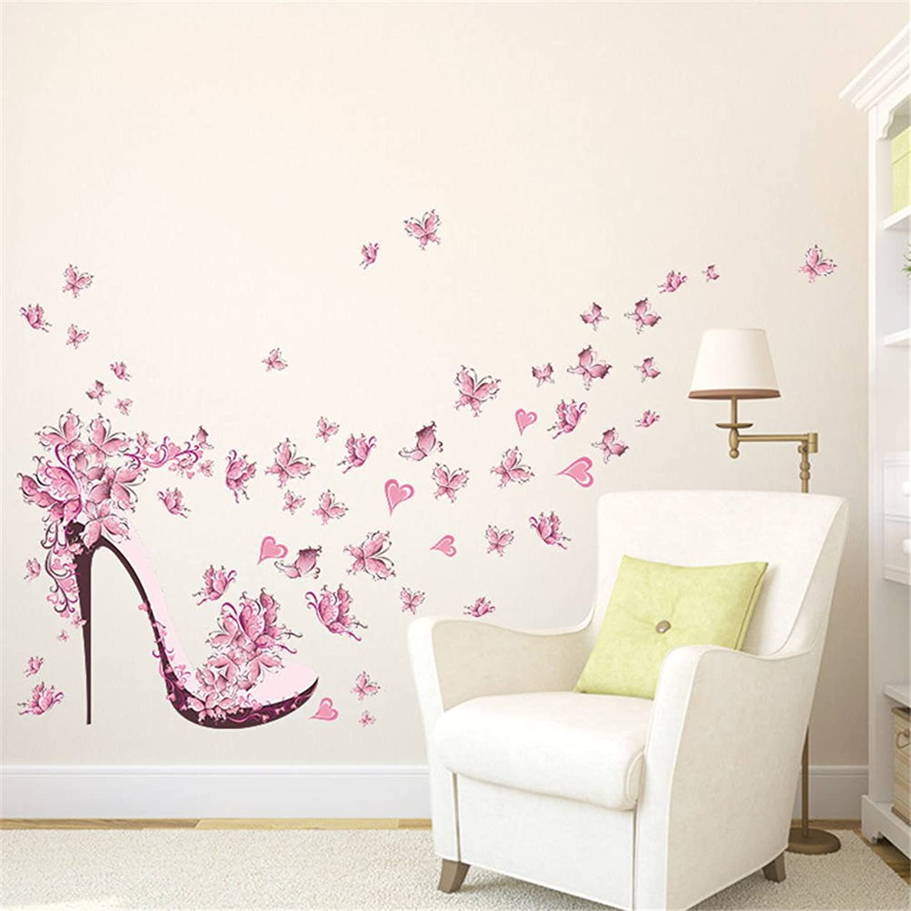 BIBITIME High-heeled Shoes Wall Art Valentine's Day Heart Butterfly Wall Sticker for Women Bedroom Living Room Background PVC Decorations Kids Room Decor Art Mural