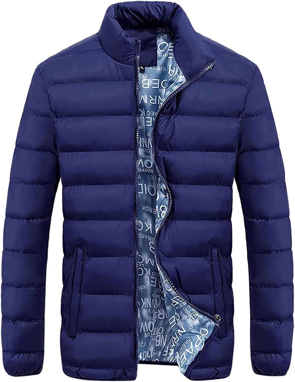 UBST Down Puffer Jackets for Mens, Lightweight Stand Collar Cotton Padded Zipper Casual Warm Baseball Sports Coats