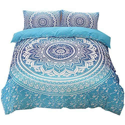 NTBED Bohemian Mandala Donna Doppelbezug für Bettwäsche-Set, 2/3 Teile, ägyptisch, Hippie, Nirvana, Yoga, indisches Bettwäsche-Set, Polyester, blau, Double(200x200cm)