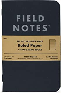 Field Notes Pitch Black Notebook - 3-Pack - Small Size 3.5
