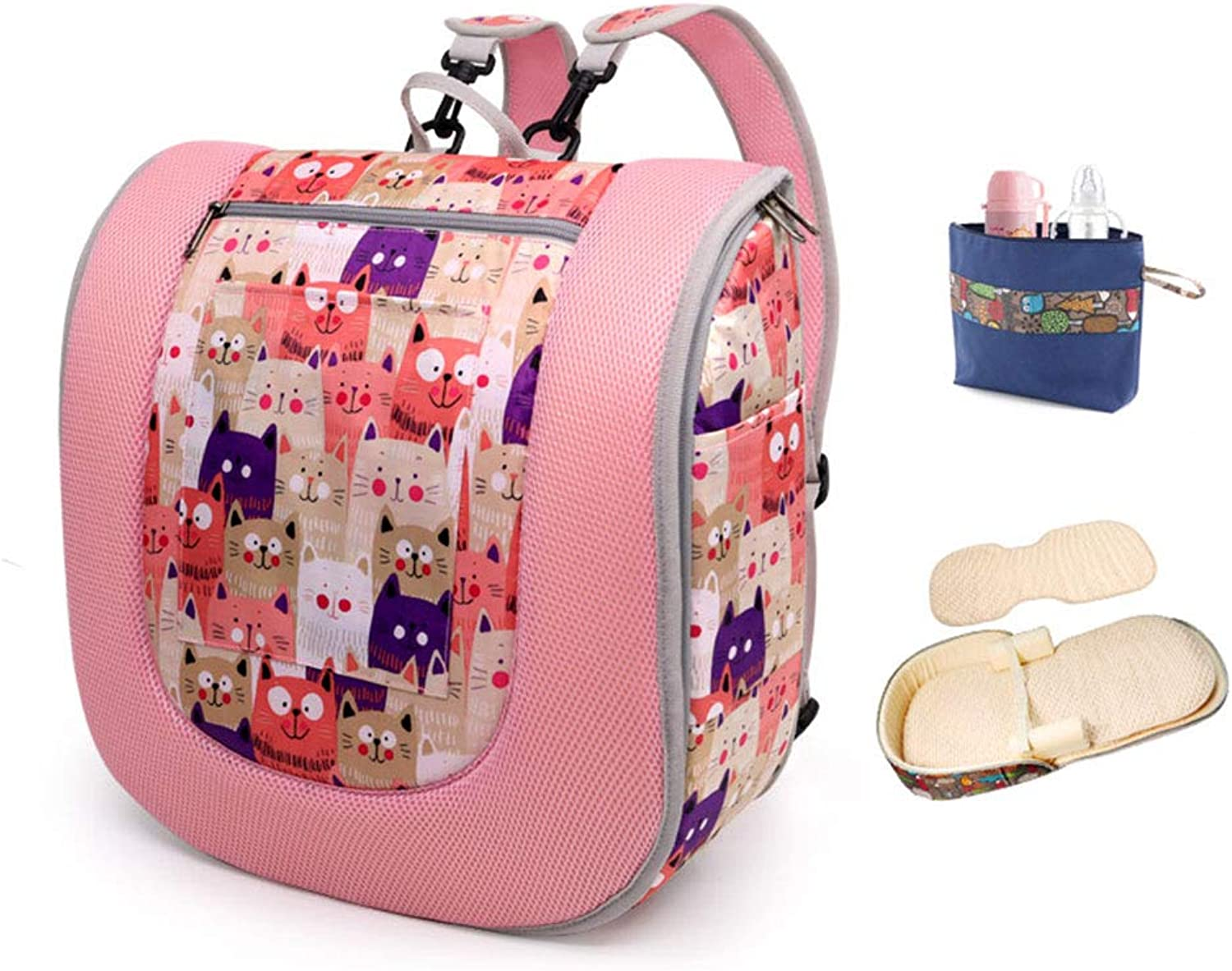 HUIFA Portable Crib Multi-Function Folding Anti-Pressure Bed can Sleep can be Used as a Backpack Baby Bed Suitable for 0-8 Months Baby 86  41cm (color   Storage Bag+Mattress, Size   86  41cm)