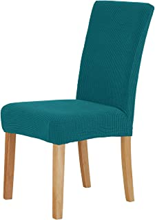 Deconovo Removable Luxury Chair Covers Kitchen Waterproof Slip Covers for Dining Room Set of 4, Turquois