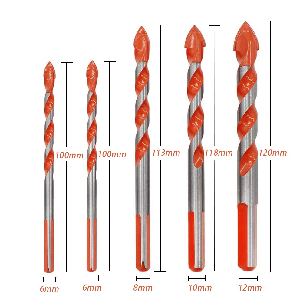 7PCS Multifunctional Ultimate Drill Bits Ceramic Glass Punching Hole Working NEW