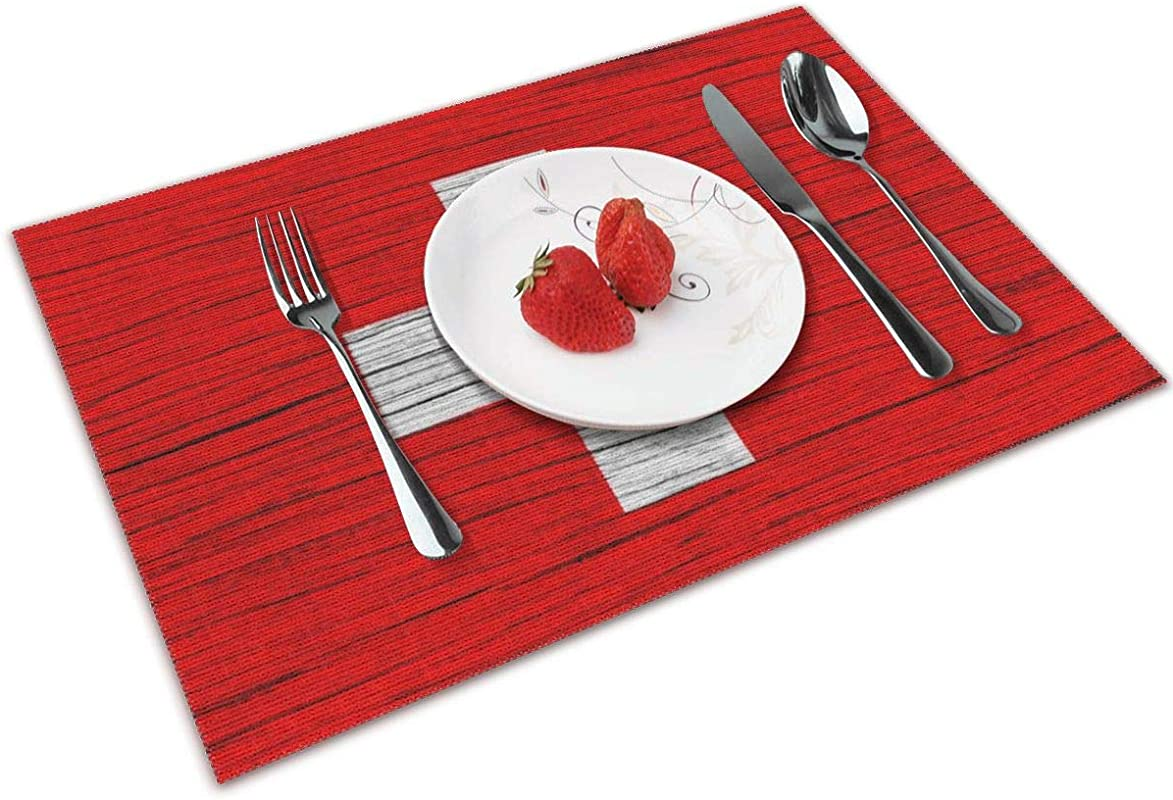 NBteach Switzerland Wooden Texture Swiss Flag 4 Piece Set Of Placemats Pc Party Decor Dining Room Home Ornament Table Place Mat Patio Xmas Holidays Kitchen Decorations Themed Print Pattern