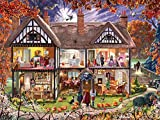 SUPER SPOOKY: Here's the puzzle all you ghouls have been waiting for! The same happy family from Christmas House and Summer House are back again to try to scare the bejeepers out of the neighbors and trick-or-treaters. BEAUTIFULLY DESIGNED: Artist St...