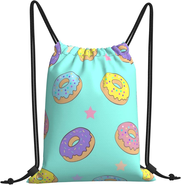 Donut Drawstring Bargain sale Bags Directly managed store Backpack Gym Beach Bag Bulk