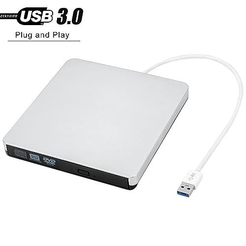 j-deal 6438279 Portable Ultra Slim External Slot USB 3.0 High Speed CD/DVD-RW Burner for Laptop/Desktops