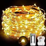 TOPLIFE Cadena de Luces, 10M 100 LED Guirnalda de Luces Impermeable Alambre de Cobre de 8 Modos de...