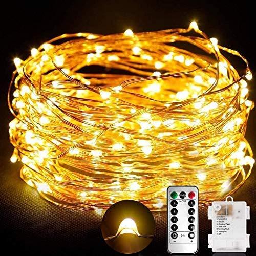 Lichterkette Batterie 10M 100 LED Wasserdicht lichterkette mit Fernbedienung und Timer,Kupferdraht Lichterkette Batterienbetrieben für außen innen zimmer flasche Party Weihnachten (Warmes Gelb)