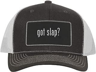 One Legging it Around got Slap? - Leather Black Metallic Patch Engraved Trucker Hat