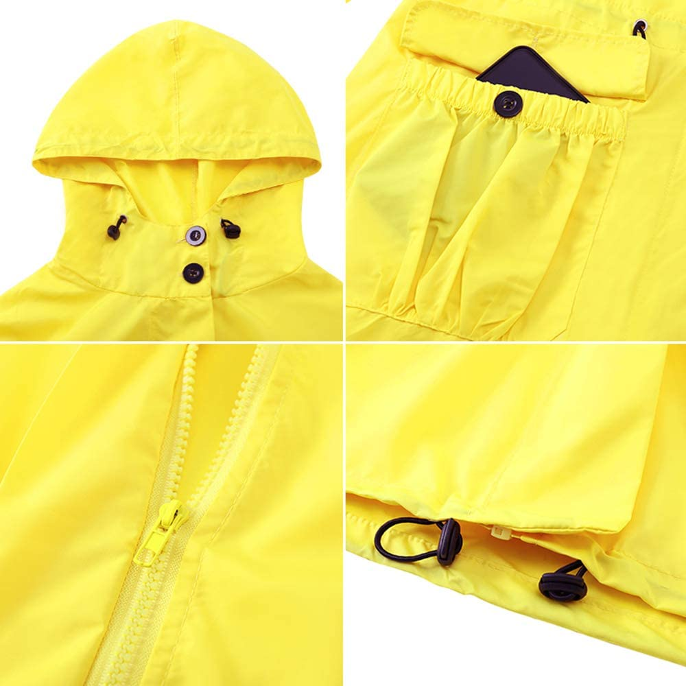 Akalnny Regenmantel Regenjacke Damen Wasserdicht Leichte Outdoorjacke mit Atmungsaktiv Windjacke Übergangjacken mit Kapuze für Wandern Radfahren Camping und Reisen Gelb