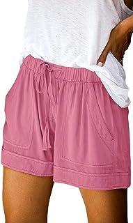 Jmwss QD Womens High Waist Relaxed Fit Drawstring Wide-Leg Casual Shorts