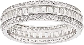 White Cubic Zirconia Rhodium Over Sterling Silver Band Ring 3.25ctw